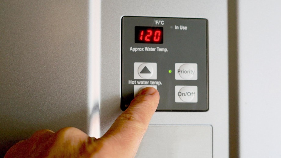 Electric Water Heater temperature thermostat display in Modesto