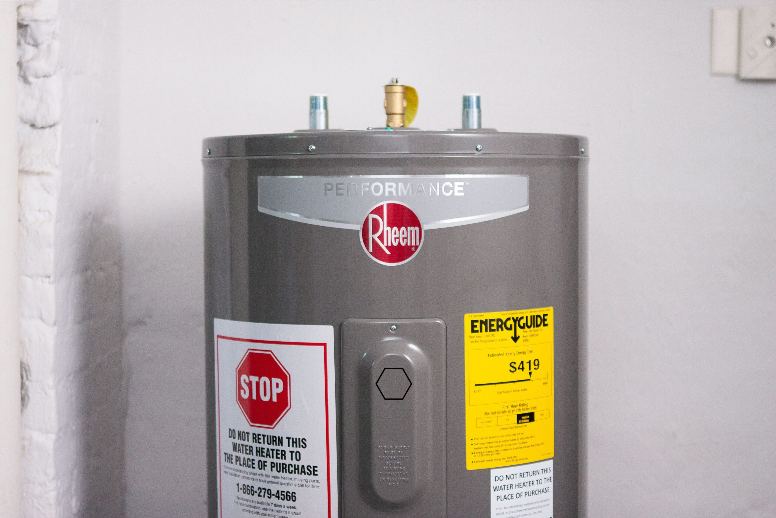 Rheem Water Heater with Energy Guide in Modesto